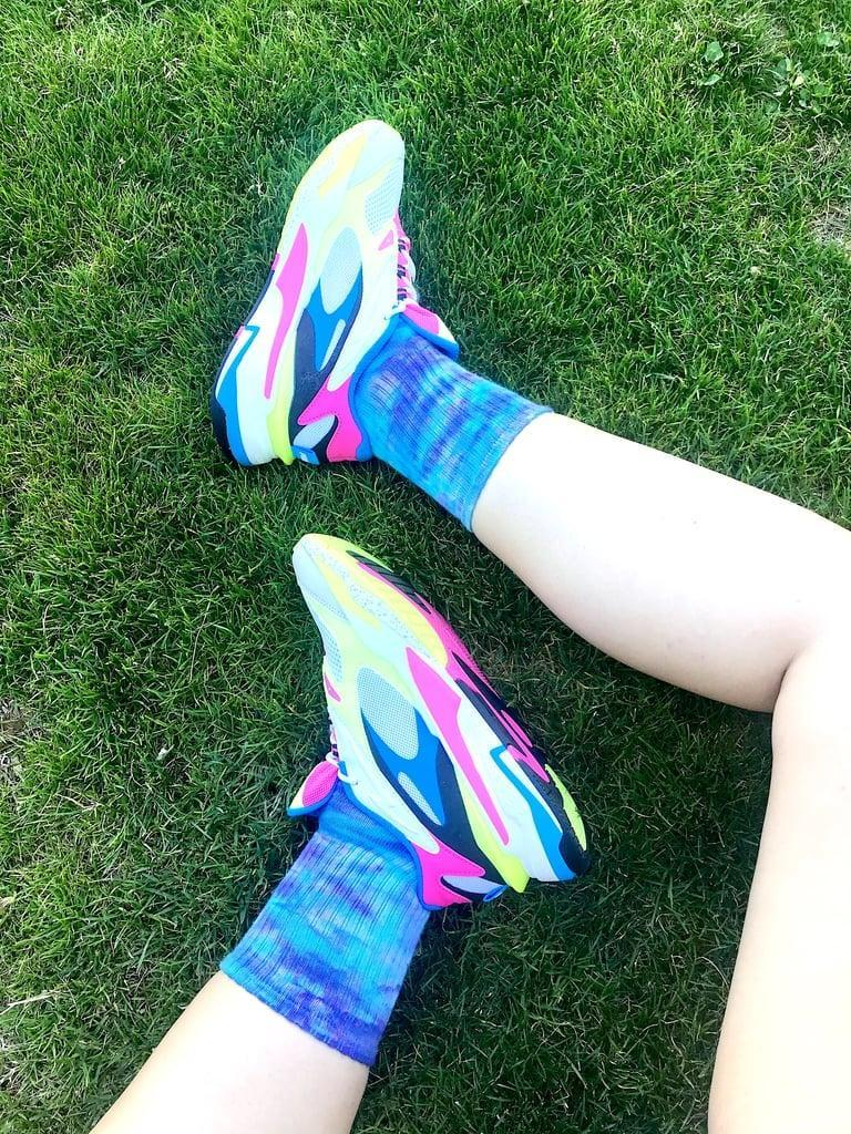 """<p><strong>The item:</strong> <span>POPSUGAR x Old Navy Printed Socks</span> (Sold Out)</p> <p><strong>What our editor said:</strong> """"As a size nine in women's shoes, the large pair of these fun tween socks fits me perfectly. In fact, I love them so much, I bought a pair for my sister, too. For a layered look, I've been into wearing the varsity striped design over the tie-dye. The soft and stretchy fabric is perfect for lounging around."""" - MCW </p> <p>If you want to read more, here is the <a href=""""http://www.popsugar.com/fashion/old-navy-tie-dye-socks-review-47685342"""" class=""""link rapid-noclick-resp"""" rel=""""nofollow noopener"""" target=""""_blank"""" data-ylk=""""slk:complete review"""">complete review</a>.</p>"""