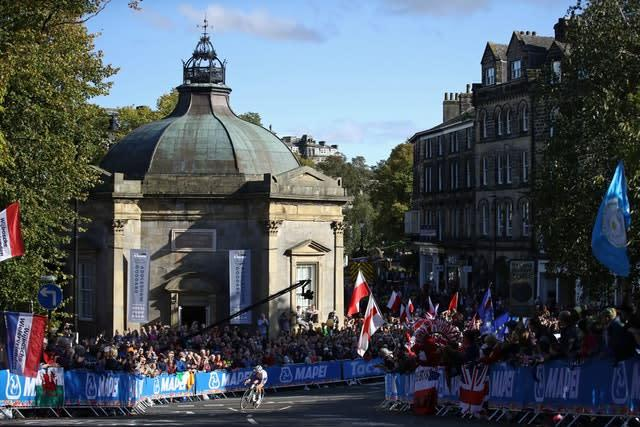 Lizzie Deignan rides by the pump room in Harrogate (Tim Goode/PA).