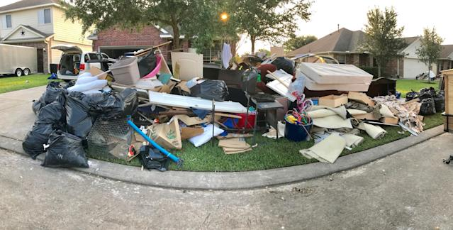 The Rocha family's home in Dickinson, Texas, in the aftermath of Hurricane Harvey. Photo courtesy of Ashley Rocha.