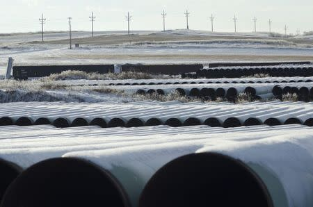 A depot used to store pipes for Transcanada Corp's planned Keystone XL oil pipeline is seen in Gascoyne, North Dakota, in this file photo taken November 14, 2014.   REUTERS/Andrew Cullen/Files