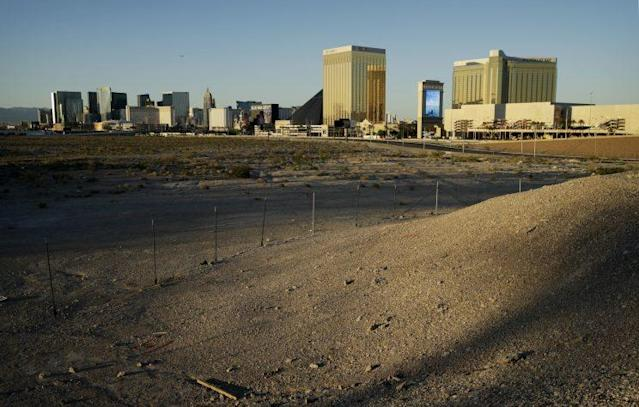 This land is where the Raiders' Las Vegas stadium will be built, not far from the Las Vegas Strip. (AP)