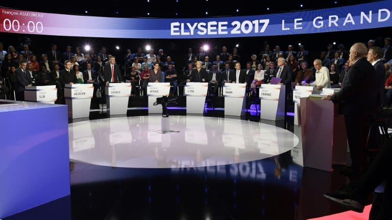 The eleven candidates for the French presidential election attend a debate on April 4, 2017 in La Plaine-Saint-Denis near Paris