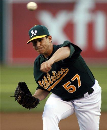 Oakland Athletics pitcher Tommy Milone throws to the Tampa Bay Rays in the first inning of a baseball game in Oakland, Calif., Tuesday, July 31, 2012. (AP Photo/Dino Vournas)