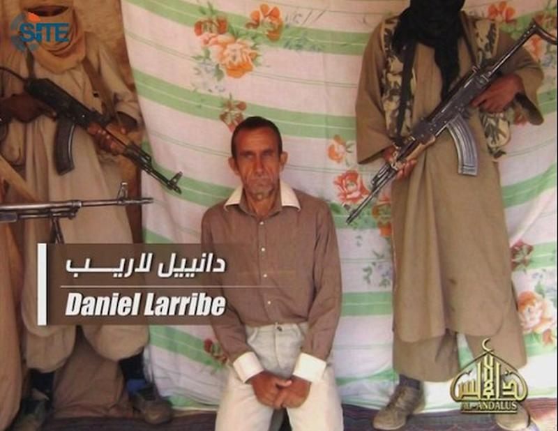 In this image taken from video and released by SITE  Intelligence Group on Wednesday April 27, 2011, shows hostage French Daniel Larribe. The French government said Wednesday officials are working to verify the authenticity and date of new online video showing four French hostages held by al-Qaida's north Africa branch. SITE Intelligence Group, a U.S.-based tracker of extremist websites, says the 3 1/2-minute video was posted on jihadist forums on Tuesday. There has been very little sign of life from the hostages since they were kidnapped in September 2010 in Niger. Al-Qaida in the Islamic Maghreb claimed responsibility for the kidnapping seven hostages including Daniel Larribe. (AP Photo/SITE. Ho)