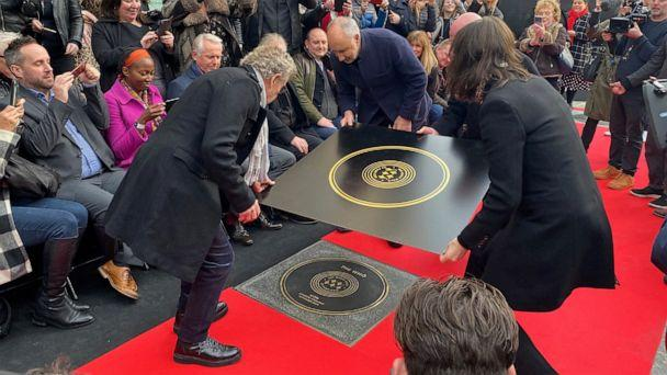 PHOTO: Pete Townshend and Roger Daltrey of The Who attend the unveiling of the founding stone of the new Music Walk of Fame in London, Nov. 19, 2019. (Marissa Davison/Reuters)