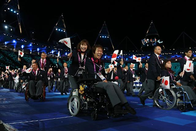 LONDON, ENGLAND - AUGUST 29: Japan athletes arrive during the Opening Ceremony of the London 2012 Paralympics at the Olympic Stadium on August 29, 2012 in London, England. (Photo by Dan Kitwood/Getty Images)