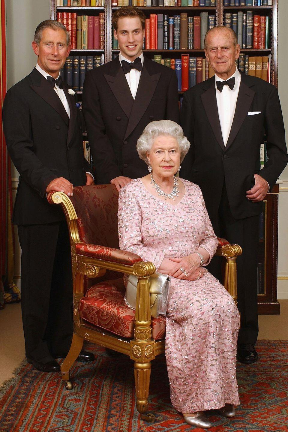 <p>For this official portrait, the queen wore an embellished pink gown with her husband, their son, Prince Charles, and grandson Prince William at Clarence House.</p>