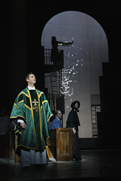 "In this Jan. 23, 2013 photo provided by the Minnesota Opera, Matthew Worth as Father Brendan Flynn, a parish priest, performs during a dress rehearsal for the Jan. 26 world premiere of ""Doubt"" at the Minnesota Opera Center in Minneapolis. (AP Photo/Minnesota Opera, Michal Daniel)"