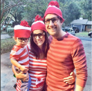 """<p>Give the classic Where's Waldo costume a new twist by adding a little cap and some glasses over your belly.</p><p><a href=""""https://www.creatingreallyawesomefunthings.com/wheres-waldo-group-costume/"""" rel=""""nofollow noopener"""" target=""""_blank"""" data-ylk=""""slk:Get the tutorial at C.R.A.F.T."""" class=""""link rapid-noclick-resp""""><strong><em>Get the tutorial at C.R.A.F.T.</em></strong></a></p><p><a class=""""link rapid-noclick-resp"""" href=""""https://www.amazon.com/SSLR-Crewneck-Sleeve-Cotton-Stripe/dp/B07WR3Z4NM?tag=syn-yahoo-20&ascsubtag=%5Bartid%7C10070.g.28589425%5Bsrc%7Cyahoo-us"""" rel=""""nofollow noopener"""" target=""""_blank"""" data-ylk=""""slk:SHOP SHIRT"""">SHOP SHIRT</a></p>"""