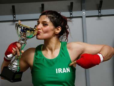 Iranian boxer Sadaf Khadem facing imprisonment in home country after violating dress rules by fighting bare-headed in France