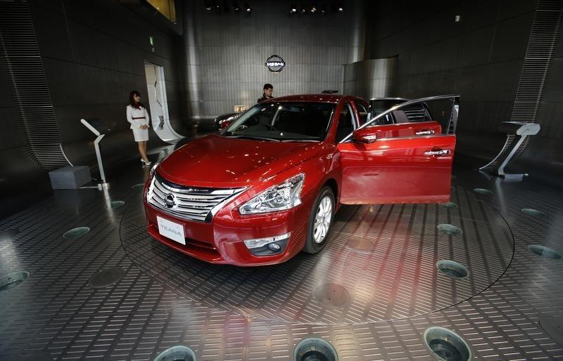 Nissan Motor's Teana sedan is displayed at the company's showroom in Tokyo