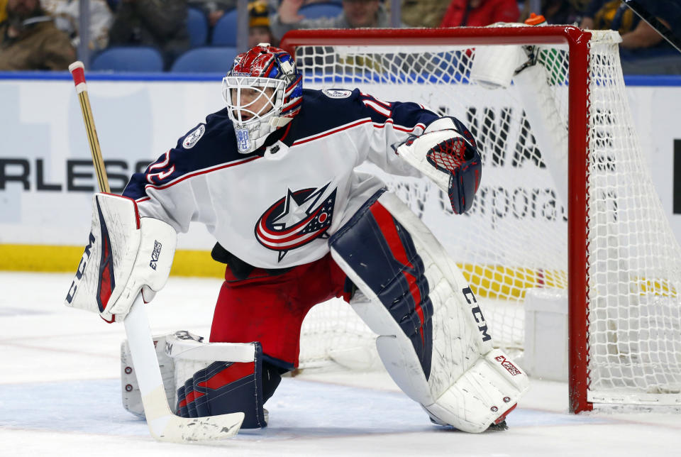 FILE - In this March 31, 2019, file photo, Columbus Blue Jackets goalie Sergei Bobrovsky looks on during the third period of an NHL hockey game against the Buffalo Sabres, in Buffalo, N.Y. The Florida Panthers have signed goalie Sergei Bobrovsky to a seven-year contract. A person with knowledge of the signing says Bobrovsky's deal is worth $70 million for a salary-cap hit of $10 million per season. The person spoke to The Associated Press on condition of anonymity Monday, July 1, 2019, because the team did not announce the terms of the contract. (AP Photo/Jeffrey T. Barnes, File)