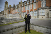 First Sea Lord and Chief of the Naval Staff, Admiral Tony Radakin at Britannia Royal Naval College in Dartmouth, Devon, where the Duke of Edinburgh first met the Queen whilst training as a young naval cadet, England, Monday, April 12, 2021. Britain's Prince Philip, the irascible and tough-minded husband of Queen Elizabeth II who spent more than seven decades supporting his wife in a role that mostly defined his life, died on Friday. (Ben Birchall/PA via AP)