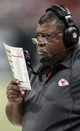 Kansas City Chiefs head coach Romeo Crennel stands on the sidelines during the first quarter of a preseason NFL football game against the St. Louis Rams, Saturday, Aug. 18, 2012, in St. Louis. (AP Photo/Tom Gannam)