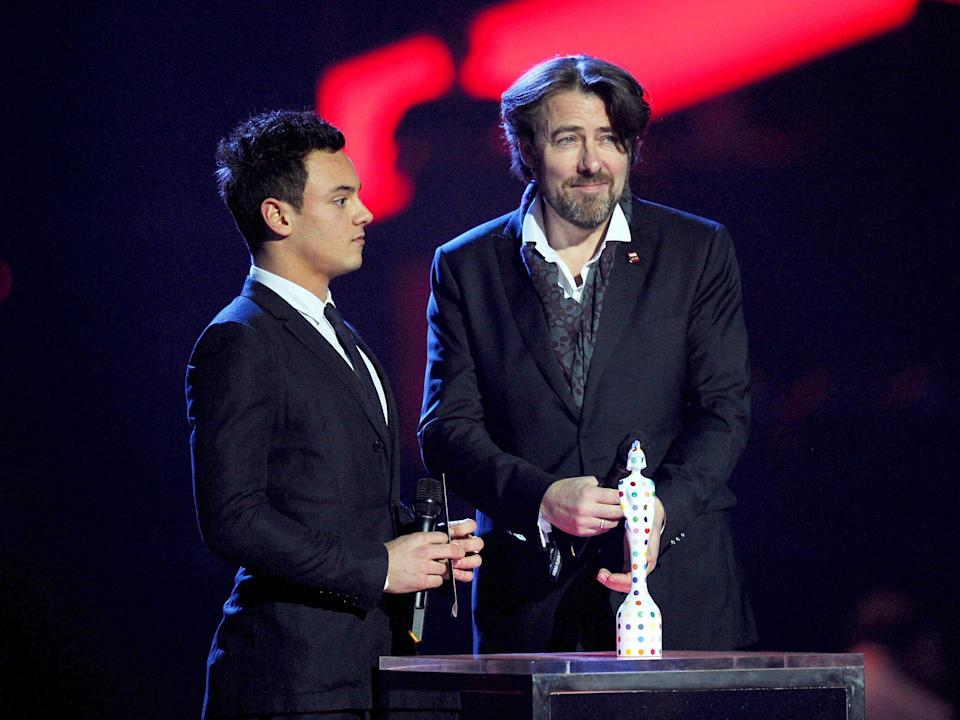 Tom Daley and Jonathan Ross on stage