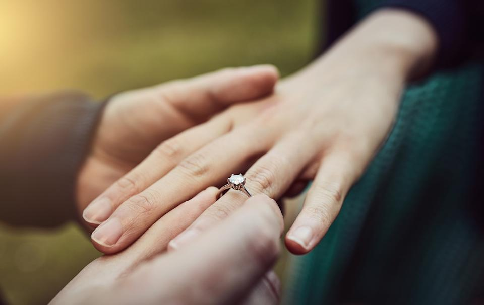 Hopeless romantics across the nation are searching for bargain engagement rings [Photo: Getty]