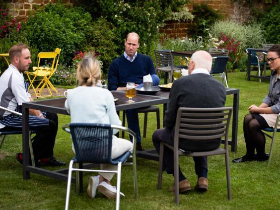 The Duke of Cambridge talks to the landlords and workers at The Rose and Crown pub in Snettisham, Norfolk. (PA)