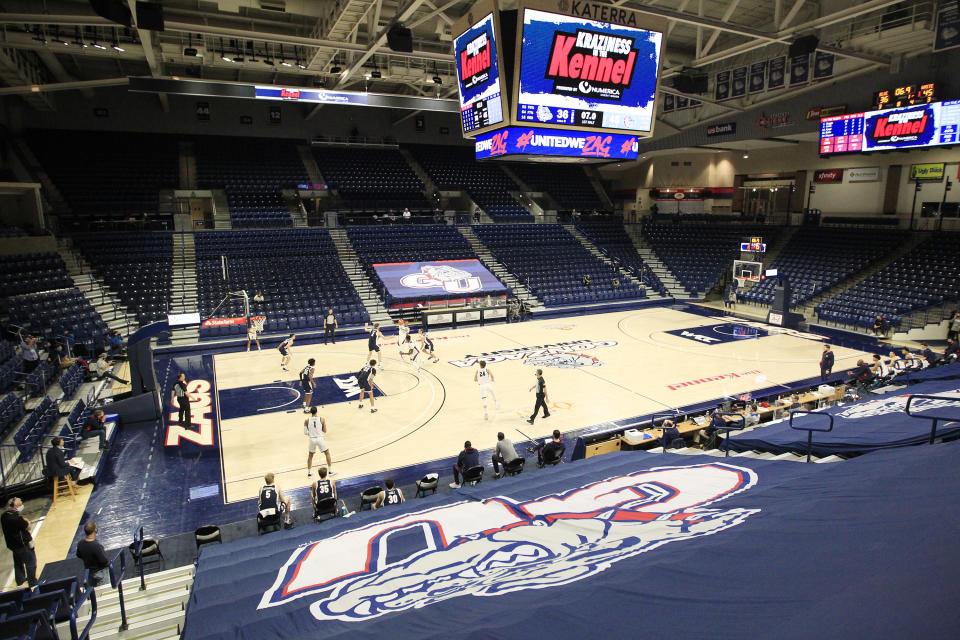 SPOKANE, WASHINGTON - NOVEMBER 12: The Gonzaga Bulldogs scrimmage during the Numerica Kraziness in The Kennel at McCarthy Athletic Center on November 12, 2020 in Spokane, Washington. (Photo by William Mancebo/Getty Images)