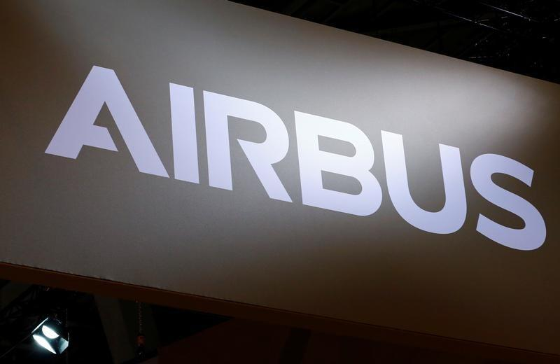 A logo of Airbus is pictured on their booth during EBACE in Geneva