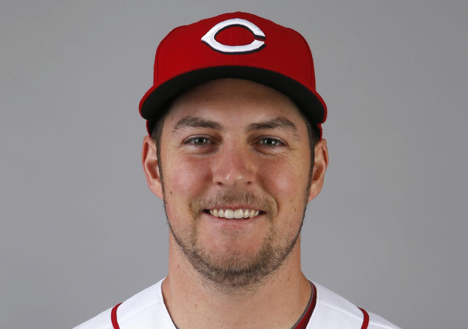 FILE - In this February 2020 file photo, Cincinnati Reds pitcher Trevor Bauer poses for a photo during baseball spring training in Goodyear, Ariz. Bauer won the NL Cy Young Award on Wednesday night, Nov. 11, 2020. (AP Photo/Ross D. Franklin, File)