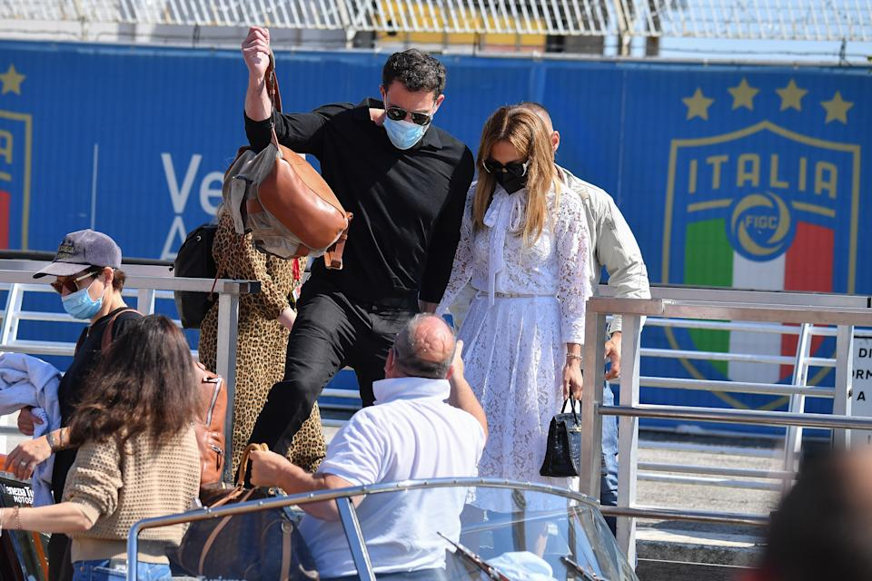 VENICE, ITALY - SEPTEMBER 09:  Ben Affleck and Jennifer Lopez arrives at the 78th Venice International Film Festival on September 09, 2021 in Venice, Italy. (Photo by Stephane Cardinale - Corbis/Corbis via Getty Images)