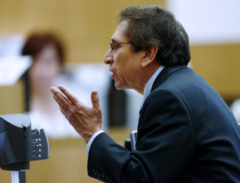 Prosecutor Juan Martinez makes his closing arguments in Jodi Arias' muder trial at Maricopa County Superior Court in Phoenix on Thursday, May 2, 2013. Arias is charged with first-degree murder in the stabbing and shooting death of Travis Alexander, 30, in his suburban Phoenix home in June 2008. (The Arizona Republic, Rob Schumacher, Pool)