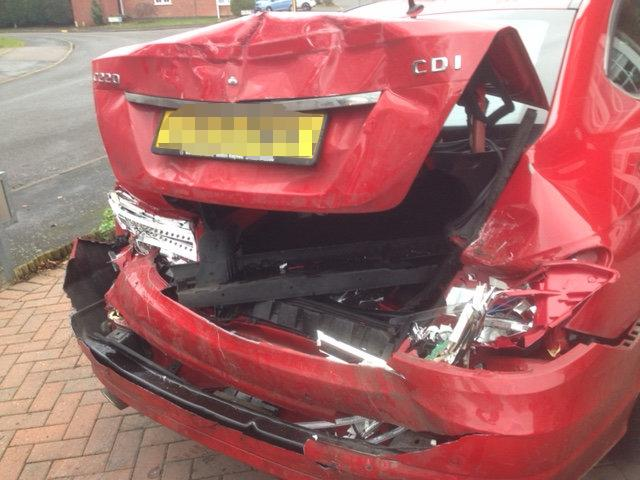 The back of the Mercedes was smashed (Picture: SWNS)