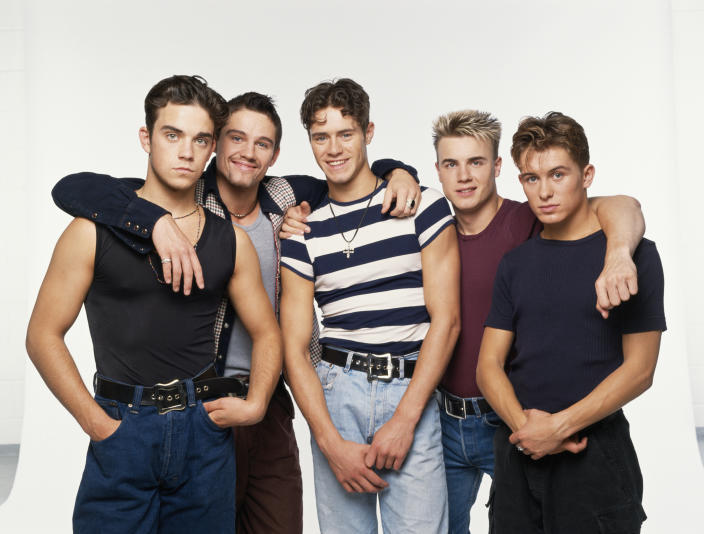 Take That, circa 1992. Left to right: Robbie Williams, Jason Orange, Howard Donald, Gary Barlow and Mark Owen. (Photo by Tim Roney/Getty Images)