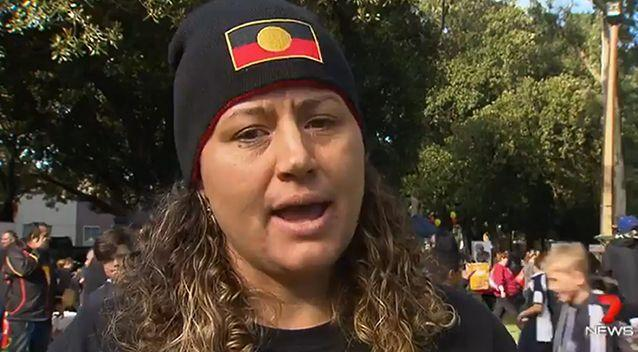 Aboriginal health worker Rebecca Kimlin led the crowd in a minute's silence in tribute to Kory, Amber and Yvette. Photo: 7 News