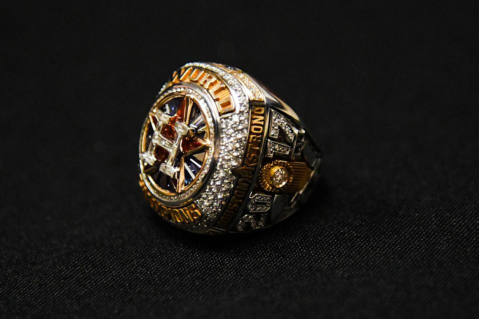 Apr 3, 2018; Houston, TX, USA; View of the ring belonging to Houston Astros president of business operations Reid Ryan (not pictured) after the World Series ring ceremony at Minute Maid Park. Mandatory Credit: Shanna Lockwood-USA TODAY Sports