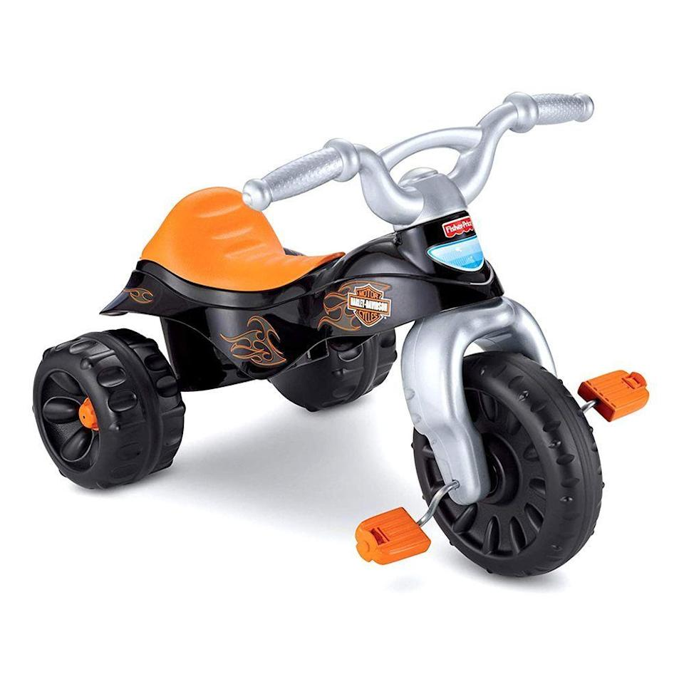 """<p><strong>Fisher-Price</strong></p><p>amazon.com</p><p><strong>$30.99</strong></p><p><a href=""""https://www.amazon.com/dp/B004UU9ZB6?tag=syn-yahoo-20&ascsubtag=%5Bartid%7C2089.g.37405641%5Bsrc%7Cyahoo-us"""" rel=""""nofollow noopener"""" target=""""_blank"""" data-ylk=""""slk:Shop Now"""" class=""""link rapid-noclick-resp"""">Shop Now</a></p><p>Just looking at this toy might conjure up memories you have pedaling one of these down the sidewalk in your neighborhood or the blacktop of your preschool. Rest assured, they're just as fun now. Your 3-year-old will be king of the road (or your driveway) on this cool Harley-Davidson model!</p>"""