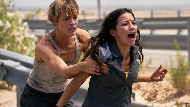 "Natalia Reyes, right, and Mackenzie Davis star in Skydance Productions and Paramount Pictures' ""TERMINATOR: DARK FATE."""