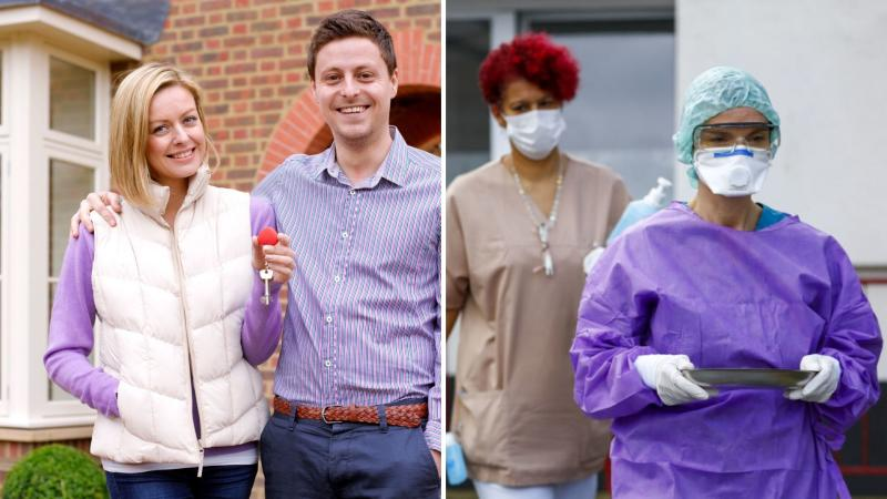 A happy couple holding a house key on the right, and medical workers with masks on on the right.