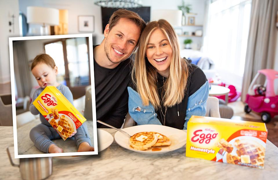 "Johnson East (with daughter Drew and husband Andrew) is starring in the ""L'Eggo with Eggo"" campaign. (Photo: Kellogg's)"