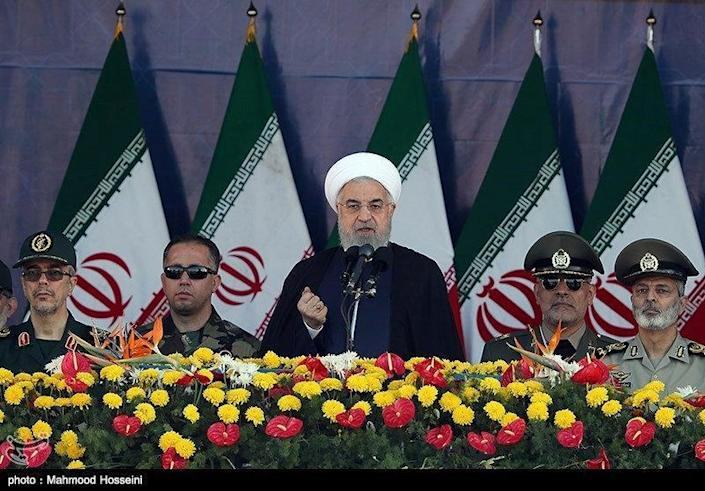 Iranian President Hassan Rouhani delivers a speech during the annual military parade marking in Tehran, Iran September 22, 2018. Tasnim News Agency/via REUTERS
