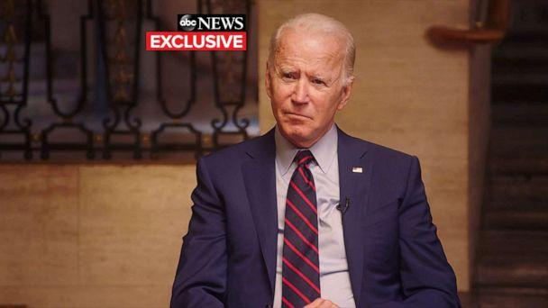 PHOTO: Former Vice President Joe Biden participates in his first his first joint interview with his running mate, Sen. Kamala Harris, in Wilmington, Del., on Aug 21, 2020. (ABC News)