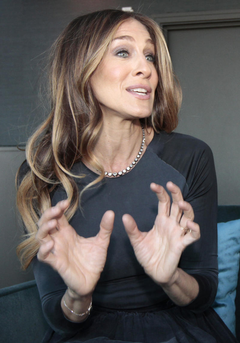 U.S. actress Sarah Jessica Parker gestures, as she has an interview with the Associated Press ahead of hosting the Nobel Peace Prize Concert in Oslo, Norway, Tuesday Dec. 11, 2012. The Nobel Peace Prize Committee awarded the prize to the European Union for its efforts to promote peace and democracy in Europe, despite being in the midst of its biggest crisis since the bloc was created in the 1950's. (AP Photo/Yves Logghe)