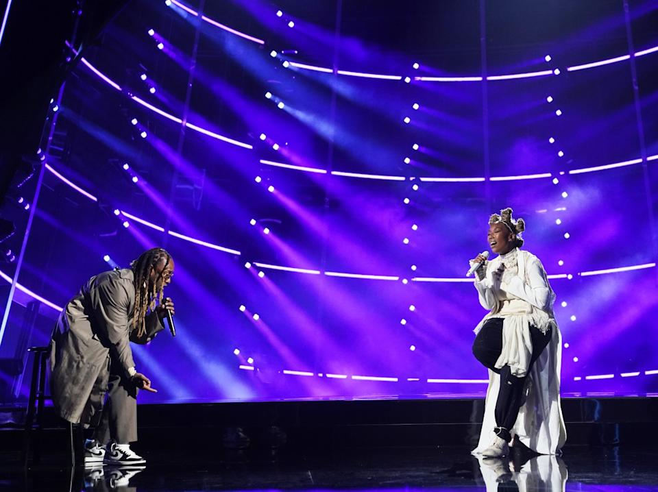 Ty Dolla Sign and Brandy perform together.