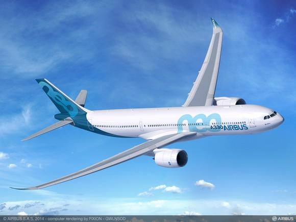 A rendering of an A330-900neo in flight