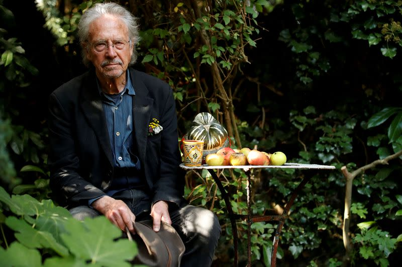 FILE PHOTO: Austrian author Peter Handke, winner of the 2019 Nobel Prize in Literature, poses in his house in Chaville