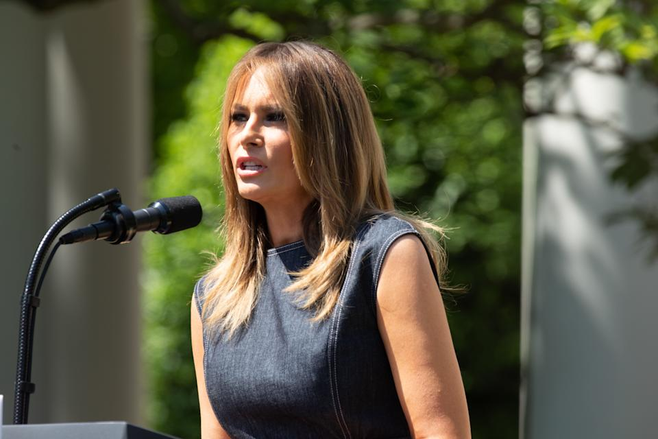 "U.S. first lady Melania Trump speaks at an event to celebrate the one year anniversary of her initiative ""Be Best"" in the Rose Garden at the White House in May 2019 [Photo: Getty]"