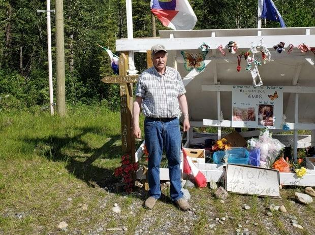 Whitehorse trucker Ed Grennan stands at the site of a memorial he helped create for Chynna Deese and Lucas Fowler.  (Submitted by Ed Grennan - image credit)