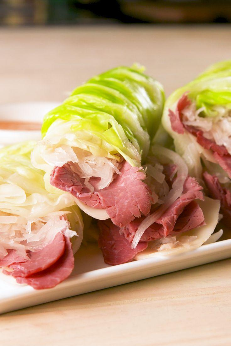 "<p>Cabbage leaves are even better than romaine when it comes to lettuce wraps. </p><p>Get the recipe from <a href=""https://www.delish.com/cooking/recipe-ideas/a20077989/low-carb-reuben-wraps-recipe/"" rel=""nofollow noopener"" target=""_blank"" data-ylk=""slk:Delish"" class=""link rapid-noclick-resp"">Delish</a>.</p>"
