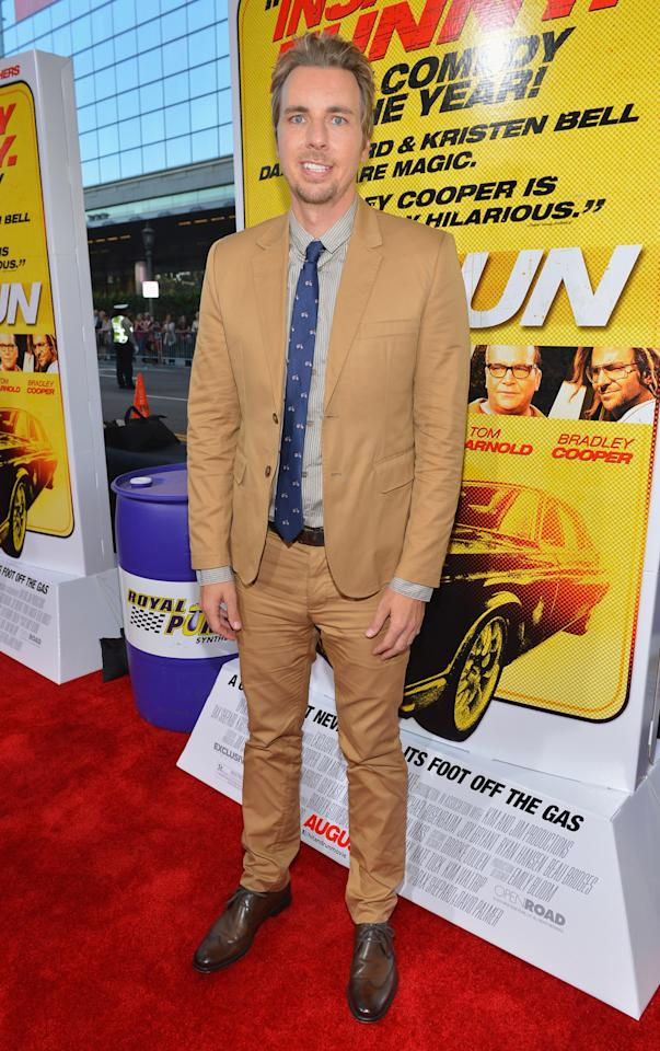 """LOS ANGELES, CA - AUGUST 14:  Actor Dax Shepard arrives to the premiere of Open Road Films' """"Hit and Run"""" on August 14, 2012 in Los Angeles, California.  (Photo by Alberto E. Rodriguez/Getty Images)"""
