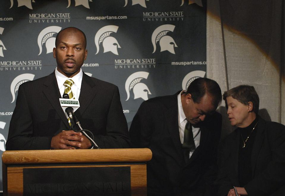 Alan Haller, then a member of MSU's police department and part of the search group that decided on Mark Dantonio as MSU's football coach, speaks at a 2006 press conference introducing Dantonio.