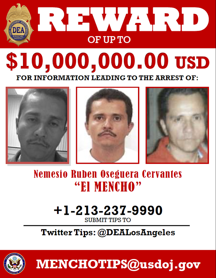 In this wanted poster, the U.S. announces a rare $10 million reward for help finding El Mencho, a ruthless cartel boss and billionaire.