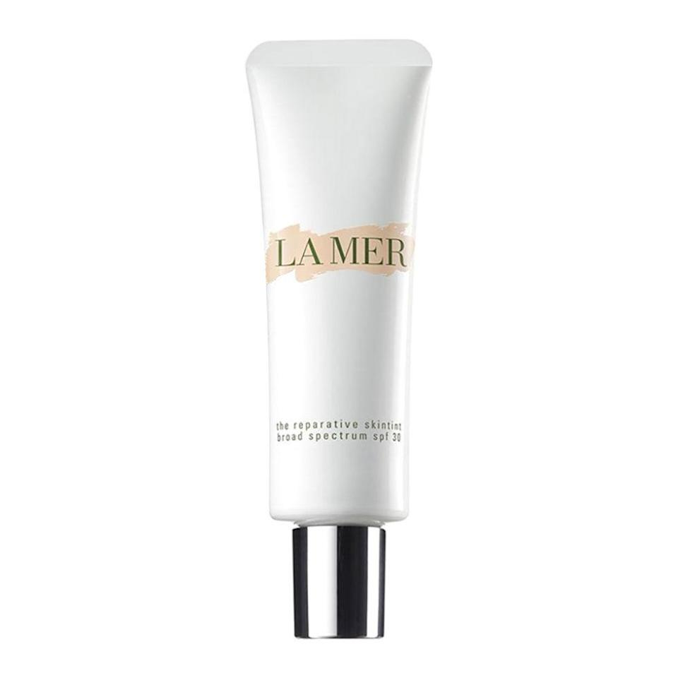 """<p>For a light wash of color and nutrition, pat on this fluid. Marine ferments repair and keep skin moist, antioxidants protect from environmental stress and pollution, and SPF 30 blocks UV rays. ($95; <a rel=""""nofollow noopener"""" href=""""http://shop.nordstrom.com/s/la-mer-the-reparative-skintint-broad-spectrum-spf-30/4034858?cm_mmc=google-_-productads-_-Women%3AMakeup%3AFoundation-_-1061902&rkg_id=h-2d0dd196230e812669cedd6f21e6c421_t-1477638079&adpos=1o1&creative=145518893242&device=c&network=g&gclid=COytseb2_M8CFYhsfgoddcEH_w"""" target=""""_blank"""" data-ylk=""""slk:nordstrom.com"""" class=""""link rapid-noclick-resp"""">nordstrom.com</a>)</p>"""