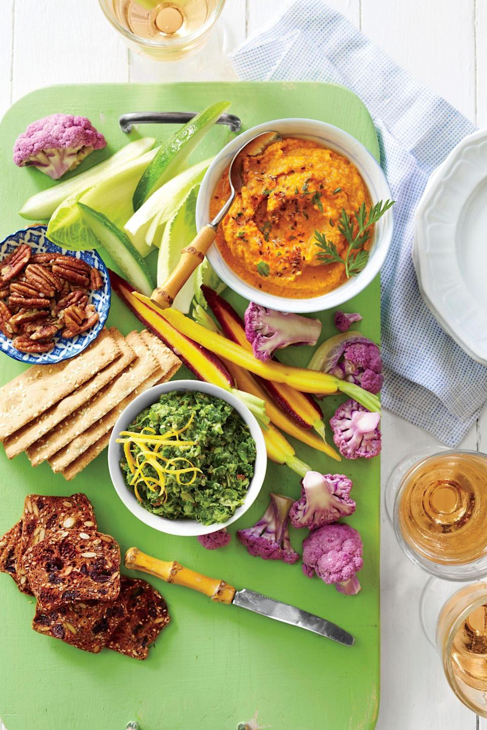 """<p><strong>Recipe: <a href=""""https://www.southernliving.com/recipes/carrot-hummus-recipe"""" rel=""""nofollow noopener"""" target=""""_blank"""" data-ylk=""""slk:Carrot Hummus"""" class=""""link rapid-noclick-resp"""">Carrot Hummus</a></strong></p> <p>Everyone will enjoy eating their carrots when you serve them in the form of a delicious dip.</p>"""