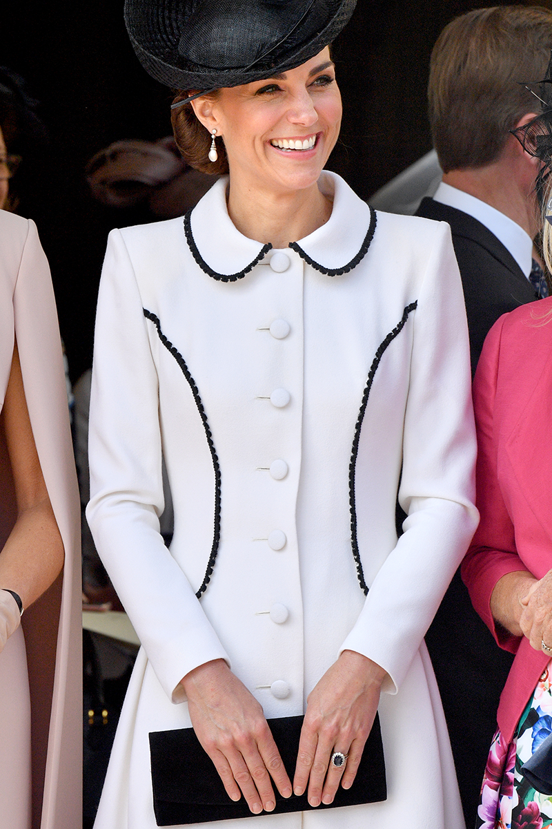 <p>Kate debuted a coat dress version of her mother-in-law's outfit switching the hat for a fascinator at the Order of the Garter service in June 2019.</p>