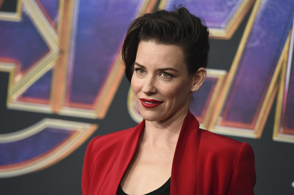 """Evangeline Lilly arrives at the premiere of """"Avengers: Endgame"""" at the Los Angeles Convention Center on Monday, April 22, 2019. (Photo by Jordan Strauss/Invision/AP)"""